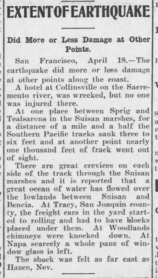 1906 earthquake felt over large area - EXTENT0F EARTHQUAKE Did More or Less Damage at...