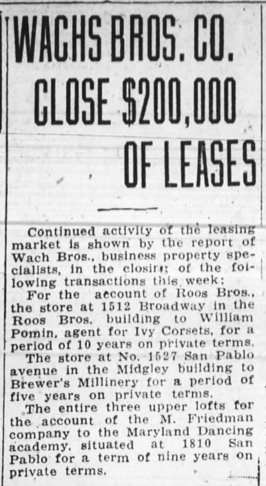 Wachs Brothers lease -- 1512 Broadway to William Pomin, agent for Ivy Corsets -