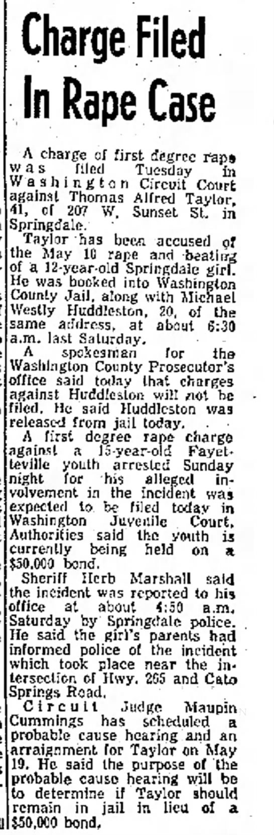 Thomas Alfred Taylor Northwest Arkansas Times, Fayetteville, Arkansas, Wed,5-14-1975 Page 1 -