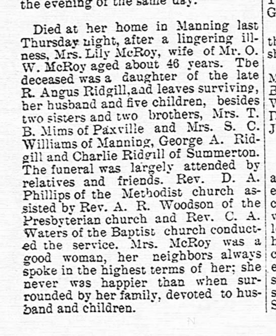 McRoy, Lily Ridgill obit The Manning Times 19 Jun 1907 -