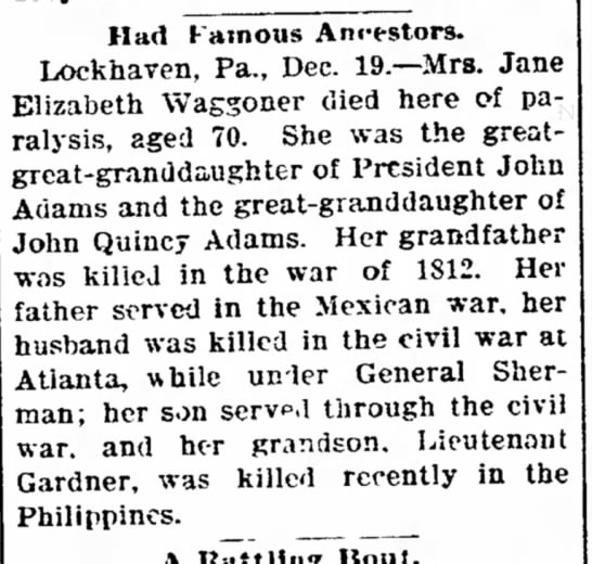 Elizabeth Waggoner - unitary resumed to his Had Famous Anrestors....