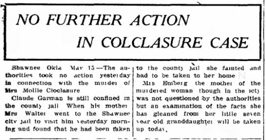 Mollie Colclasure Murder Case May 15 1909 -