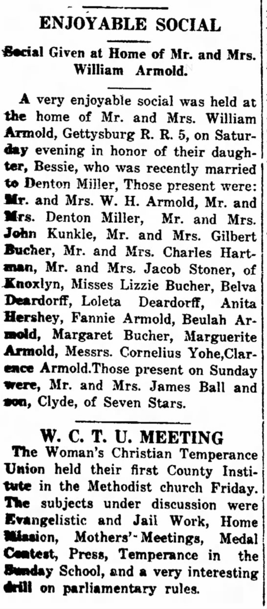 1913 Party for Bessie Armold's wedding to Denton Miller -