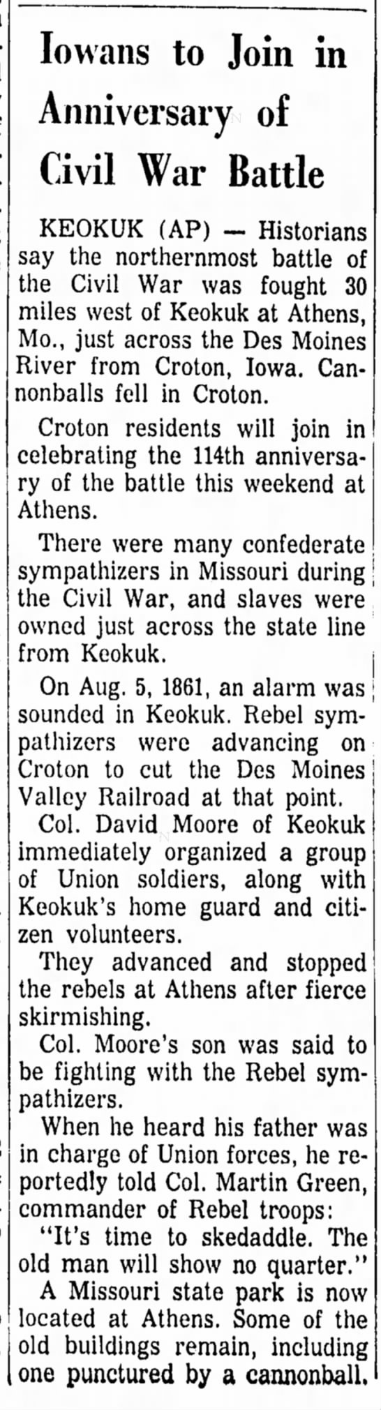 Keokuk battle - Iovvans to Join in Anniversary of Civil War...