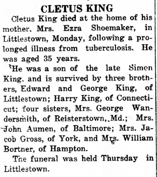 Cletus King obit-Feb 1915 -
