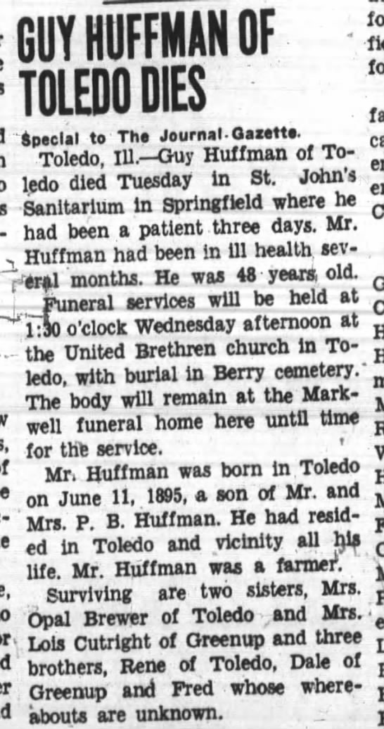Guy Huffman obit Son of Peter Brookhart H. Col. 3 -