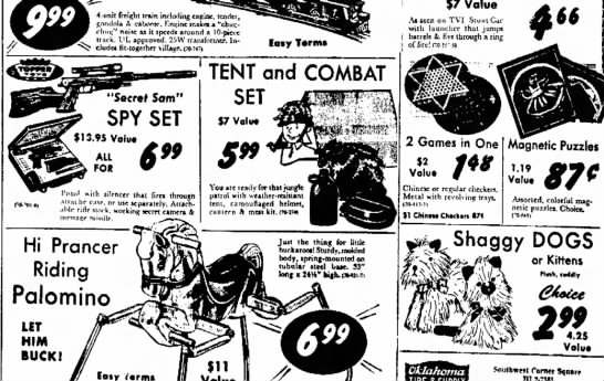 items sold in 1965 newspaper of northwest Arkansas Times . Fayetteville, Ark. - r and %7 Value 4-unit freight tnu'n including...