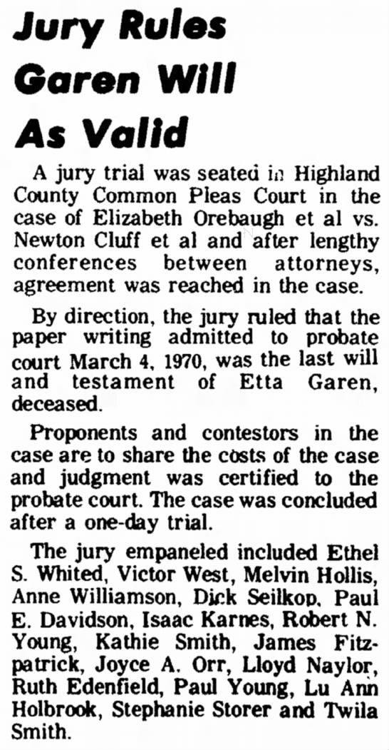 Hillsboro Press Gazette 22 May 1974Valid - the and of the Jury Rules Goren Will As Valid A...