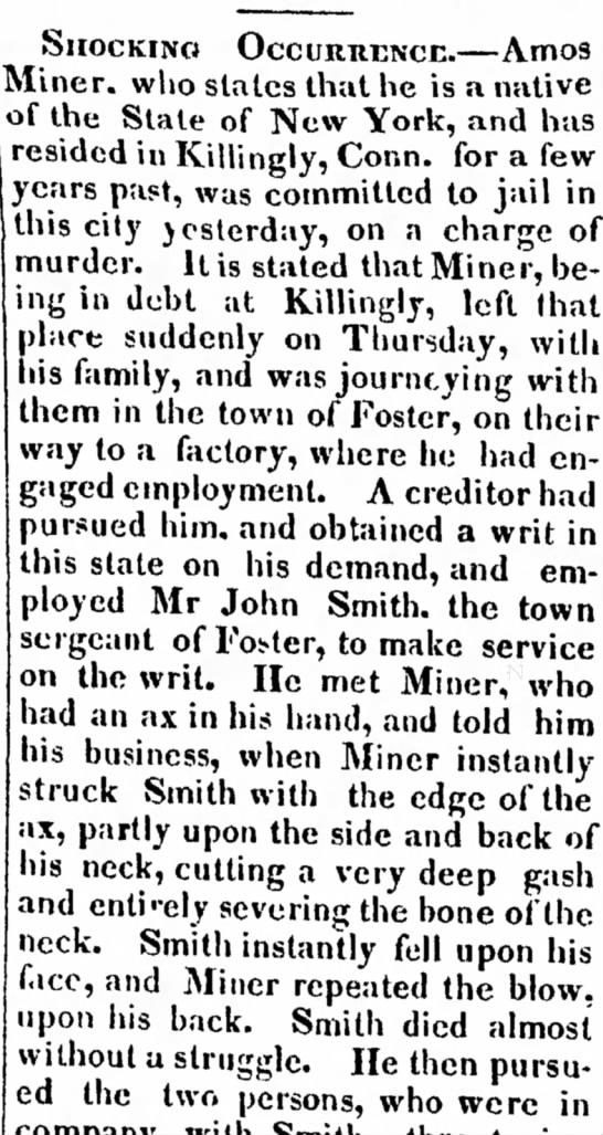Huron Reflector 10 July 1832 Amos Miner murder of John Smith, town sergeant of Foster -