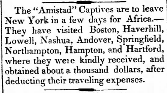 Amistad captives to return to Africa -