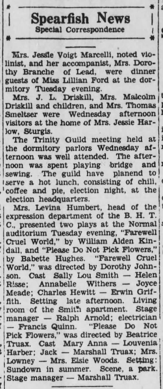 Spearfish News, Deadwood Pioneer-Times (Deadwood, South Dakota) October 28, 1932, page 4 -