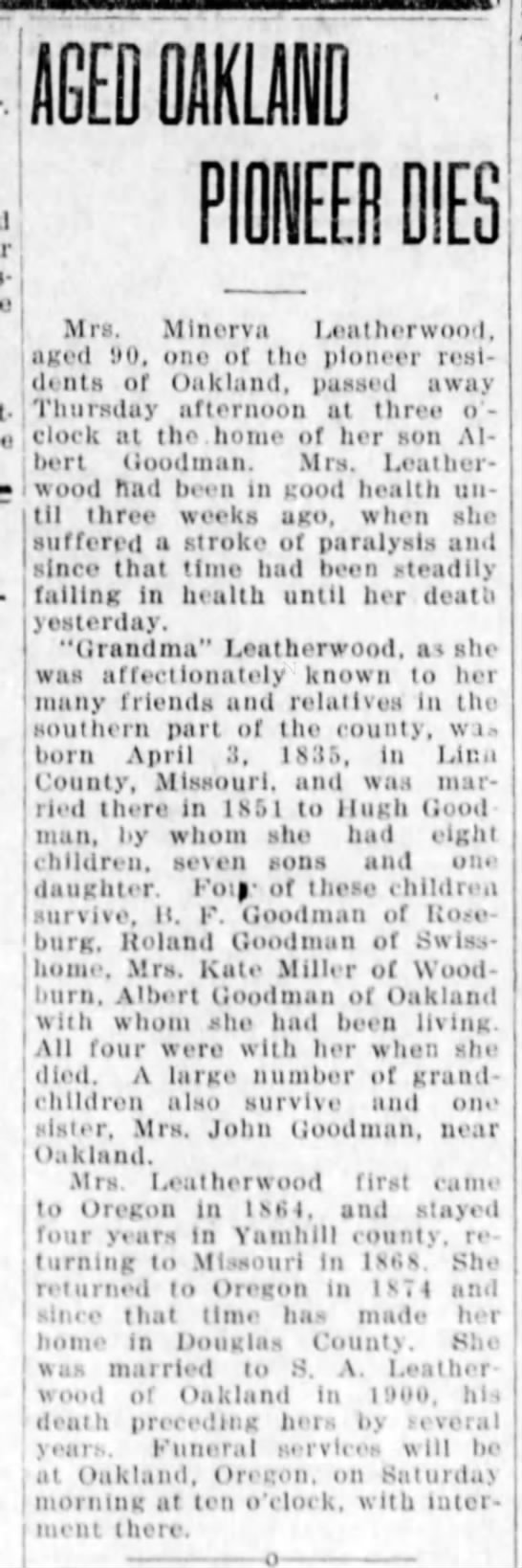Leatherwood, Minerva The News-Review, Roseburg, Oregon Sept 11 1925, Pg 4 -