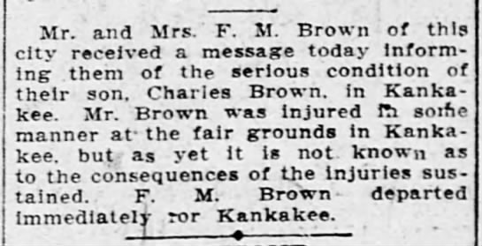 "Maybe? Charles Brown? 1910 - Mr. and Mrs. ' F. M."" Brown of this city..."
