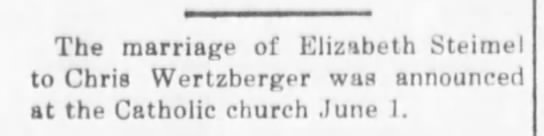 June 5, 1919 Alma Signal Elizabeth Steimel and Chris Wertzberger -