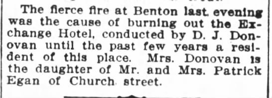 1910 Benton fire burns out Exchange Hotel -