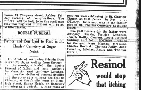 1917 - Lenahan double funeral -