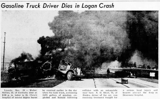 Gasoline Truck Driver Dies in Logan Crash -