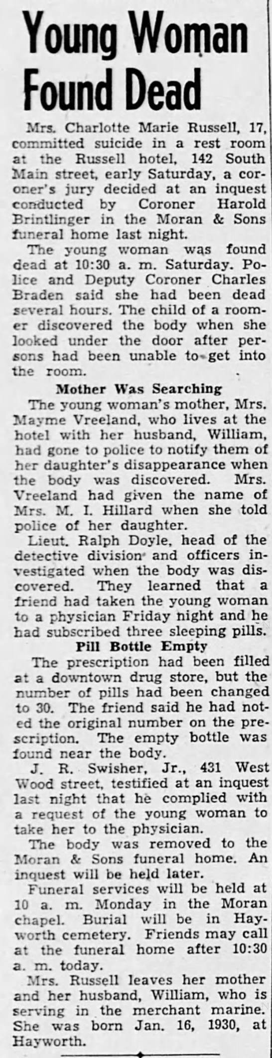 Russell, Charlotte Marie Hilliard obit Decatur Daily Review, 2 Mar 1947 page 10 col 1 -