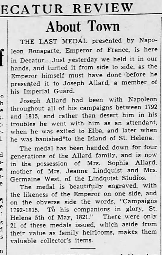Germain West family hands down medal given by Napolean Bonaparte -