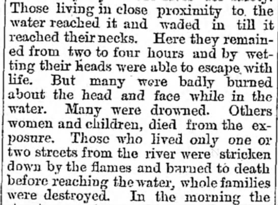 Many who made it to the river suffered burns on their heads and faces as they surfaced to breath -