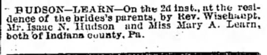 Marriage announcement of Isaac Hudson and Mary Learn dated 16 Mar 1876 -