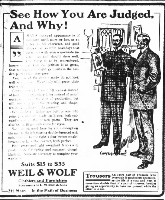 Weil Clothiers ad Houston 1906 -