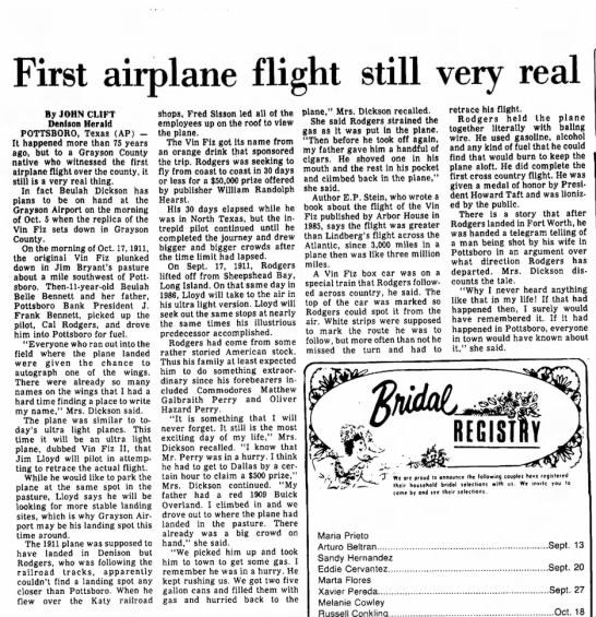 - First airplane flight still very real By JOHN...