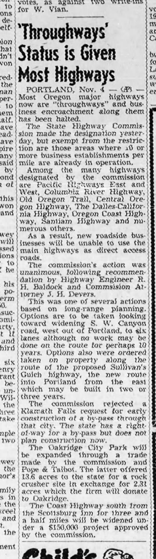'Throughways' Status is Given Most Highways [OR] -