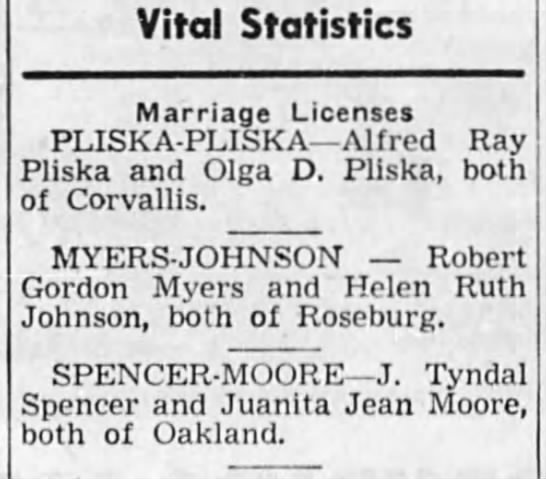 Joe and Nita's marriage - Vital Statistics Marriage Licenses...