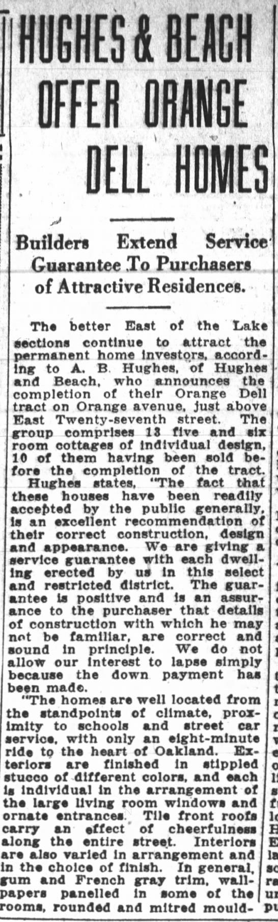 Hughes & Beach offer Orange Dell Homes Feb 25, 1926 -