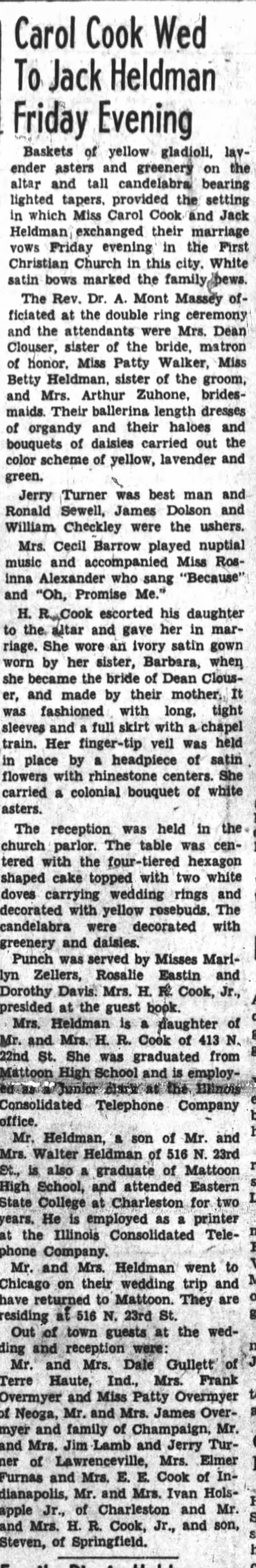 Mattoon Journal Gazette  6-30-1954 - Carol Cook Wed To Jack Heldmari Friday Evening...