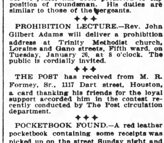 Houston Daily Post Jan 26 1909 Prohibition Lecture - position of roundsman.  His duties art 659eb7b1700