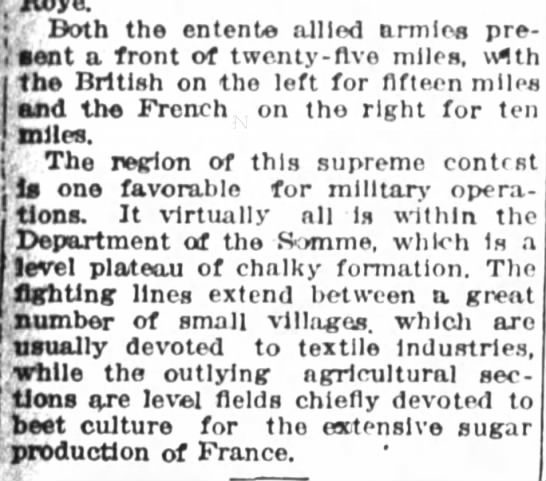 Description of the Somme front -