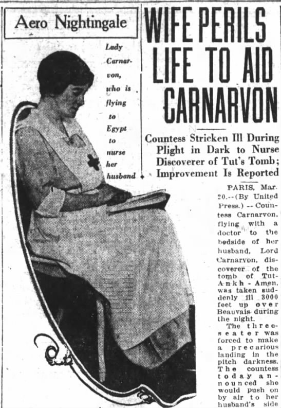 Almina, Countess of Carnarvon goes to her husband's sick bed  aware that Lord Carnarvon  was doomed. -
