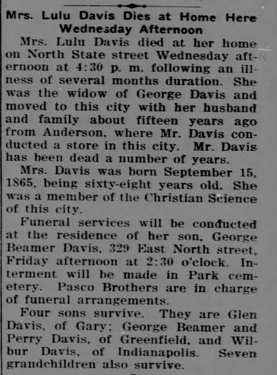 Lulu Davis Obituary -