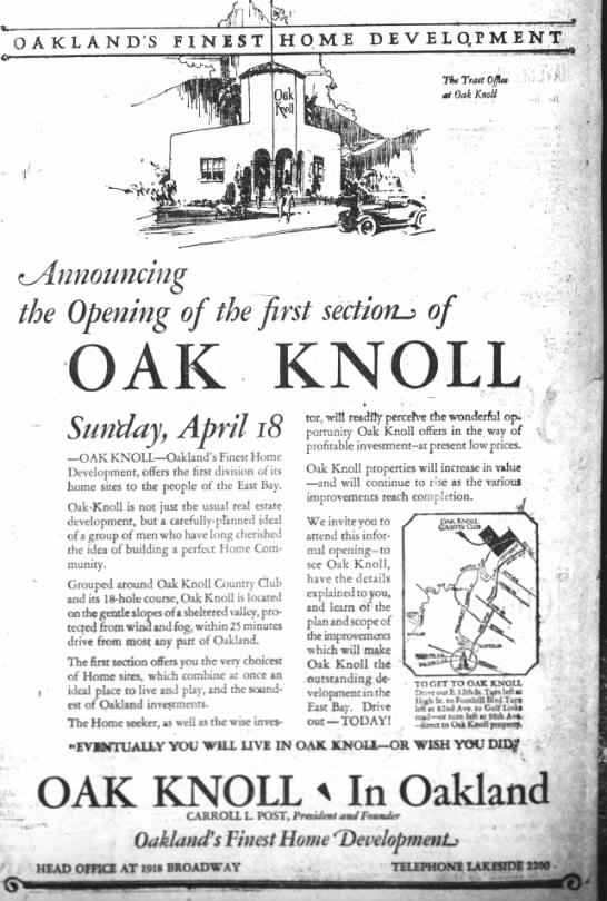 The First Section of Oak Knoll On Sale - Oakland Tribune April 1926 -
