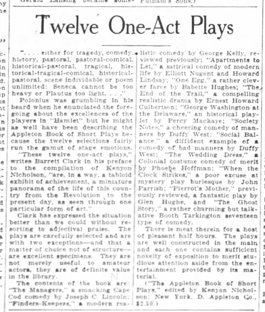 Twelve One-Act Plays, Oakland Tribune, (Oakland, California) April 18, 1926, page 68 -