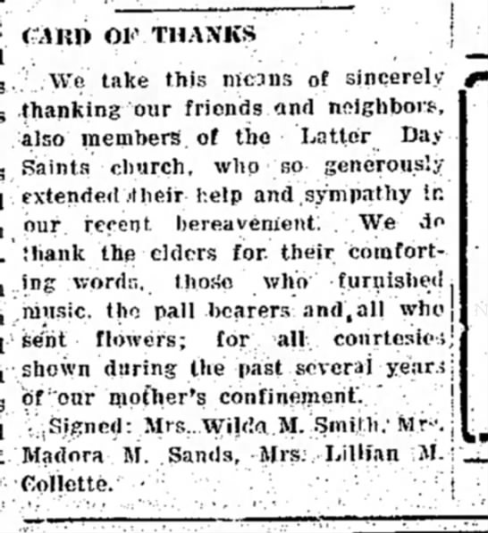Martha (Wightman) Morrill, card of thanks, 7 Jun 1946. -