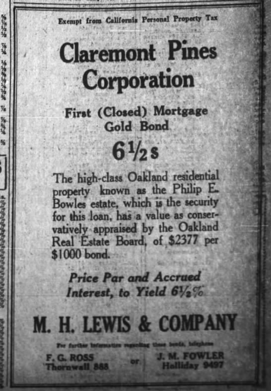 Purchase of The Pines - May 02 1927 -