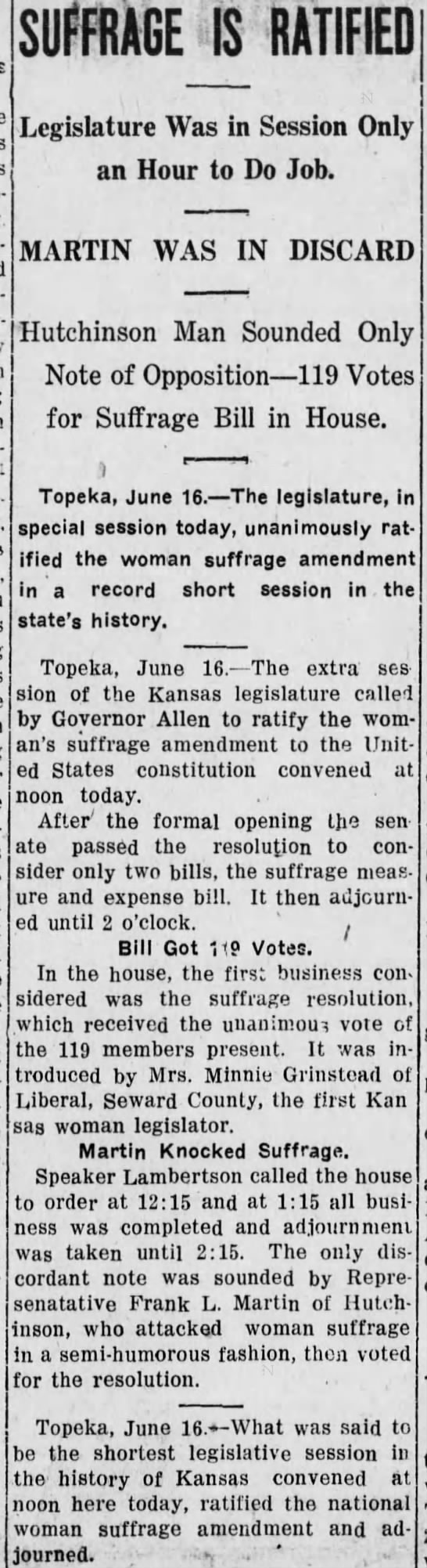 Suffrage is Ratified. The Independence Daily Reporter (Independence, Kansas) 16 June 1919, p 1 -
