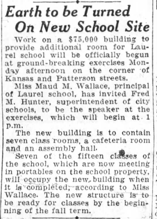 Earth to be Turned On New School Site - Laurel - Jan 07, 1928 -