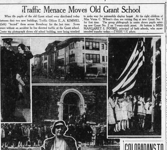 Traffic Menace Moves Old Grant School - 29th and Broadway Jan 09, 1928 -