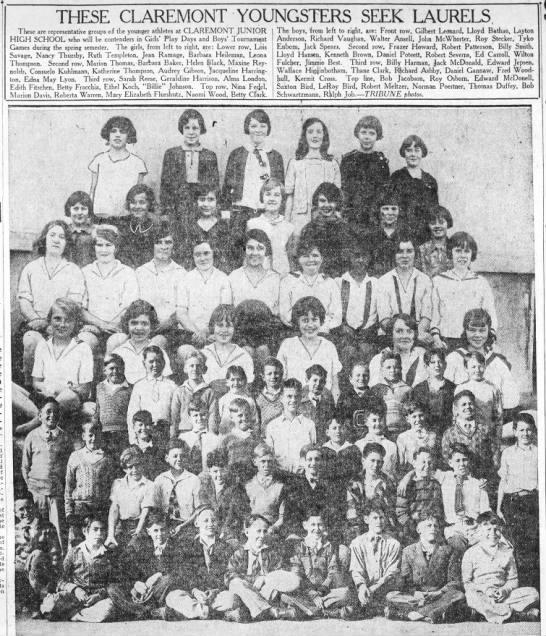 Audrey Gibson school photo at Claremont -