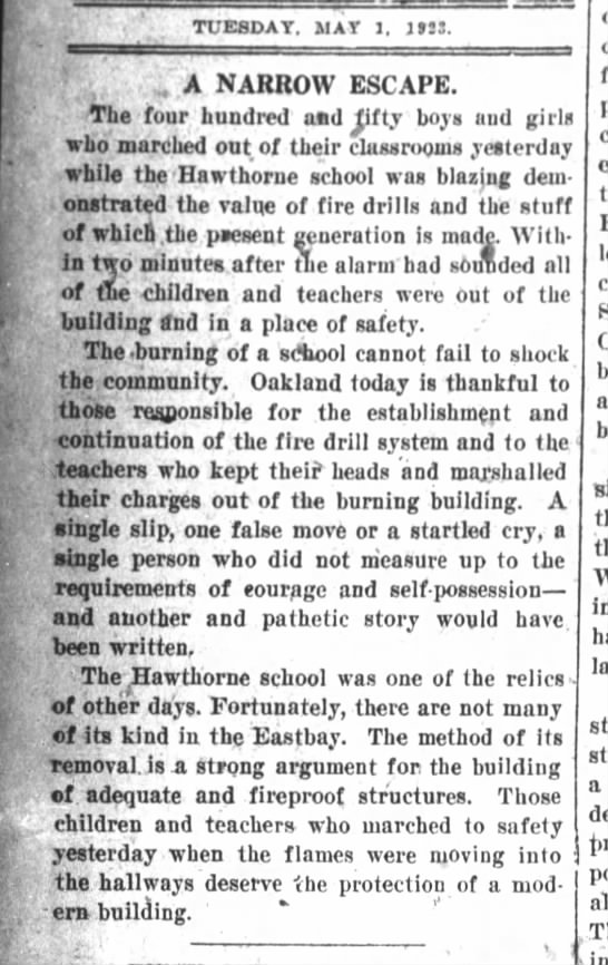 A Narrow Escape - Hawthorne School burns - April 30, 1923 - -