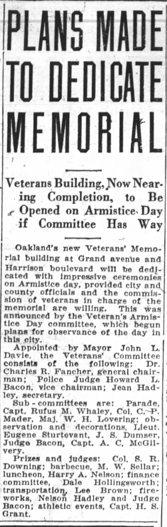 Building To Be Dedicated - Oakland Tribune September 17, 1928 -