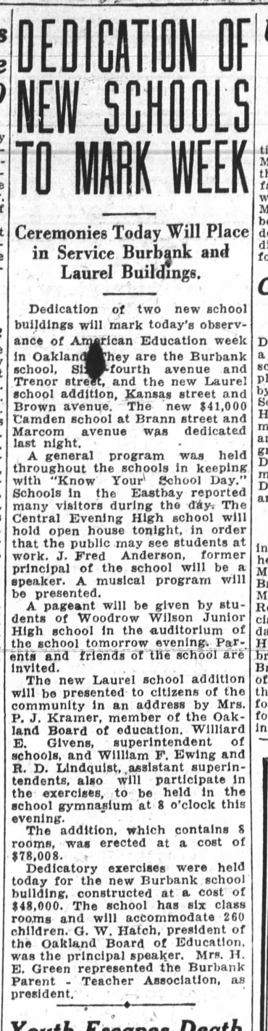 New Laurel School Dedicated - Nov 07, 1928 -