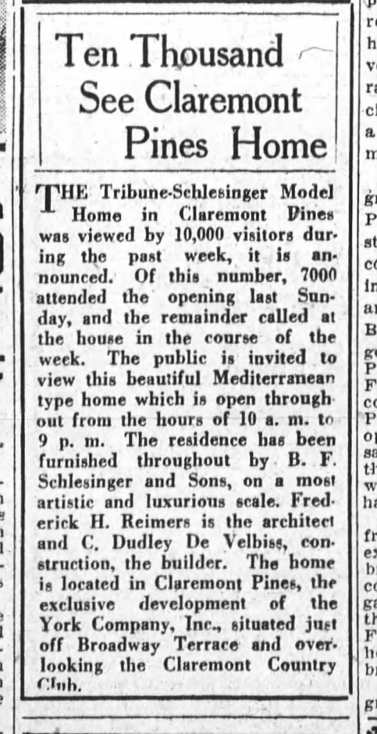 10,000 See Claremont Pines Home - Oakland Tribune January 06, 1929 -