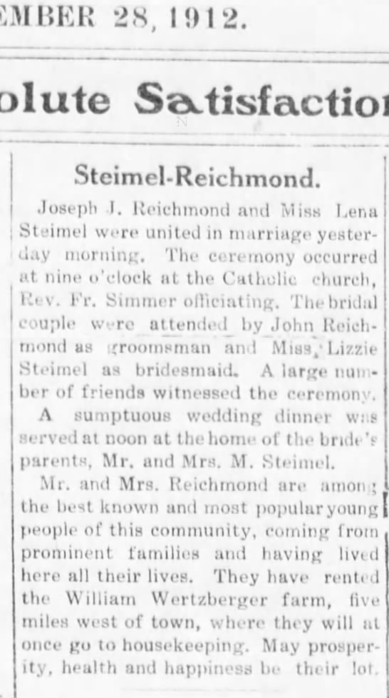 Nov 28, 1012 The Alma Signal Lena Steimel and Joseph Reichmond (Richmond) wedding -