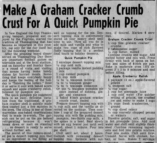 "1960 ""quick pumpkin pie"" eggless recipe with graham cracker crust -"