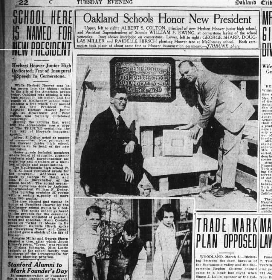Oakland Schools Honor New President - Mar 05, 1929 -